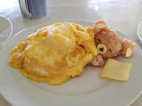 comida divertida ursinho omelete
